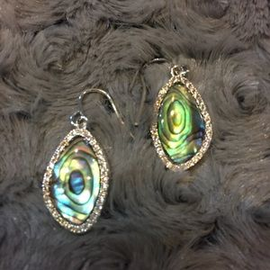 Abalone and crystal earrings NWT